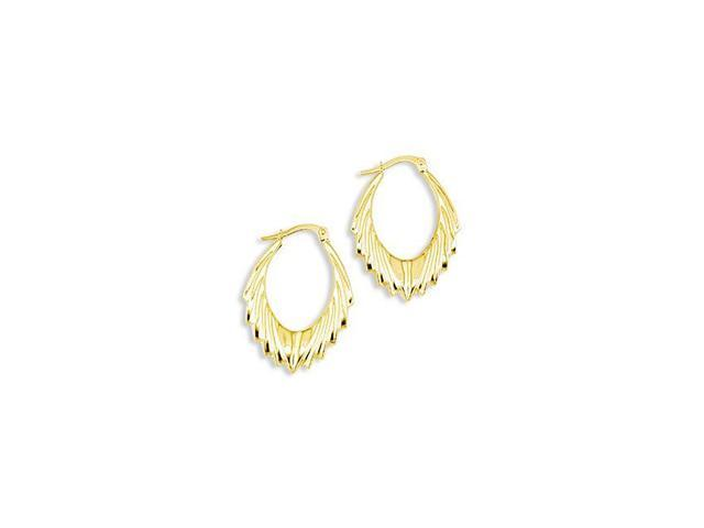 Solid 14k Yellow Gold V Shape Oval Hoop Hinged Earrings