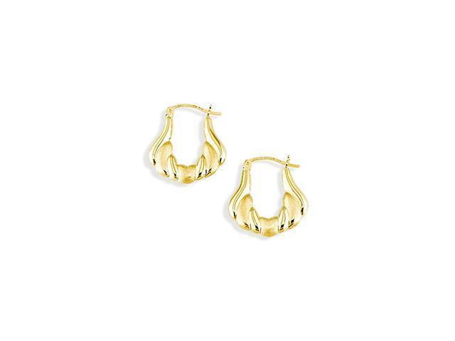 14k Yellow Gold Puffy Polished Satin Hoop Earrings