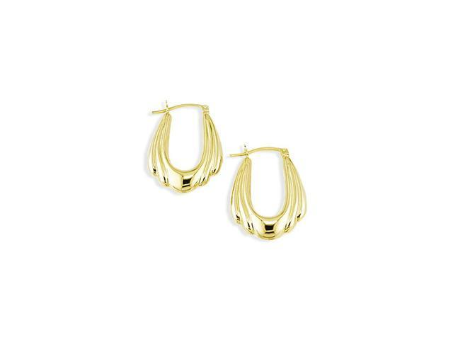 14k Yellow Gold Polished Puffy Large Hoop Earrings