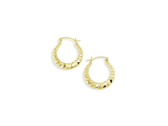 14k Yellow Gold Satin Polished Puffy Hoop Earrings