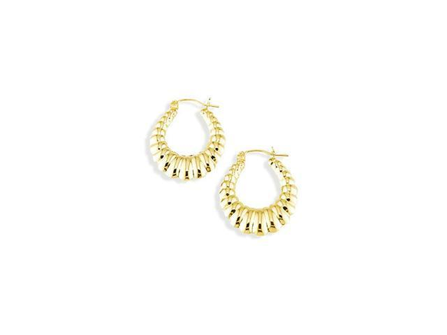 Solid 14k Yellow Gold Puffy Ribbing Round Hoop Earrings