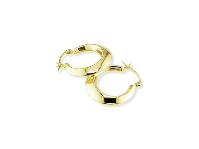 14k Yellow Gold Polished Puff Round Hoop Earrings