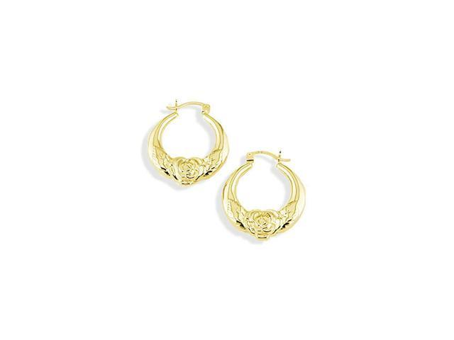 14k Yellow Gold Rose Flower Floral Puffy Hoop Earrings