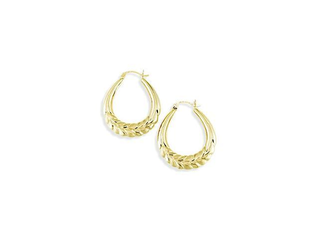 Solid 14k Yellow Gold Puffy Leaf Oval Hoop Earrings