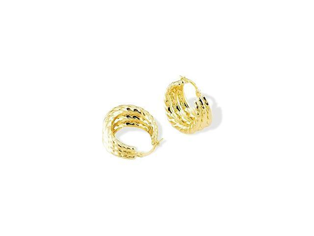 14k Yellow Gold Triple Spiral Swirl Puffy Hoop Earrings