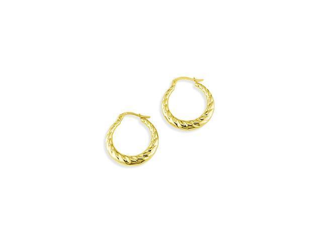 14k Yellow Gold Polished Puffy Swirl Hoop Earrings