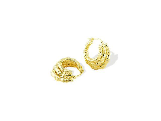 Solid 14k Yellow Gold Triple Bamboo Round Hoop Earrings