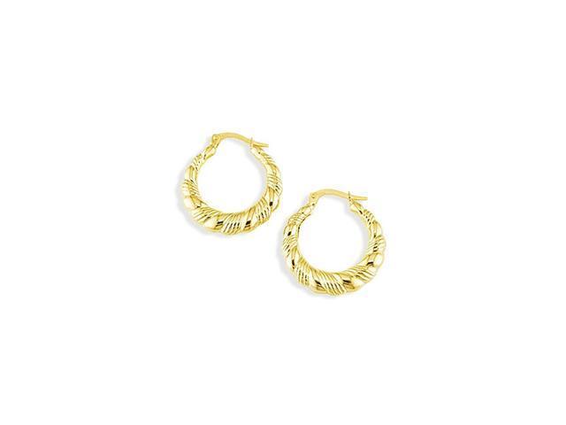 14k Yellow Gold Polished Swirls Round Hoop Earrings