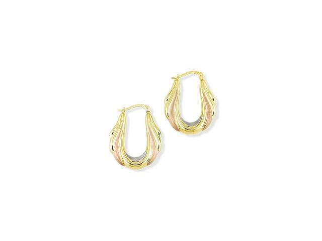 14k Yellow White Rose Gold Puffy Oval Hoop Earrings