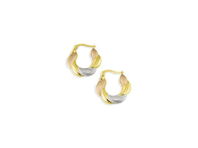14k Solid White Rose Gold Puffy Swirl Hoop Earrings