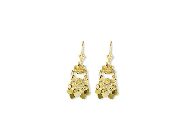 14k Solid Gold Heart Flower French Wire Dangle Earrings