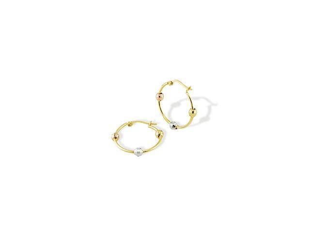 14k Yellow White Rose Gold Beaded Hoop Post Earrings