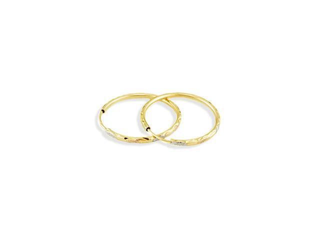 14k Yellow White Rose Gold Diamond Cut Hoop Earrings