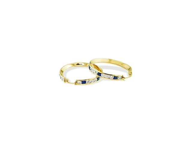 Solid 14k Yellow Gold Blue White Round CZ Hoop Earrings
