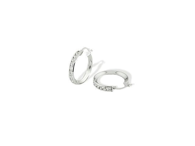 Solid 14k White Gold Channel Set Round CZ Hoop Earrings