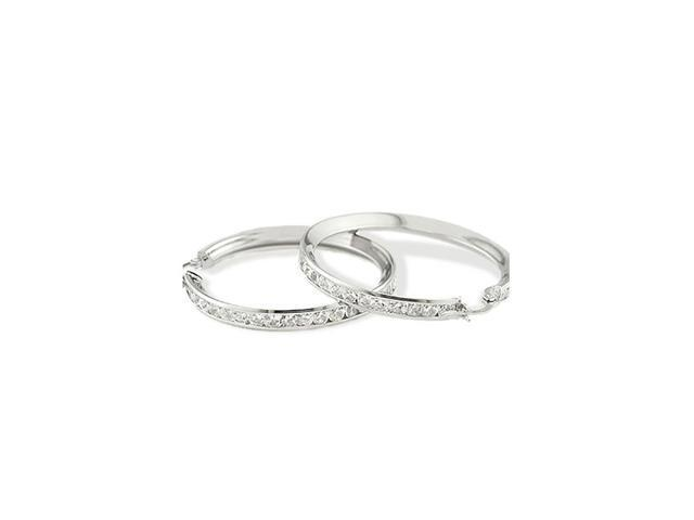 14k White Gold Channel CZ Hinged Post Hoop Earrings