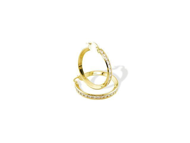Solid 14k Yellow Gold Round CZ Channel Hoop Earrings
