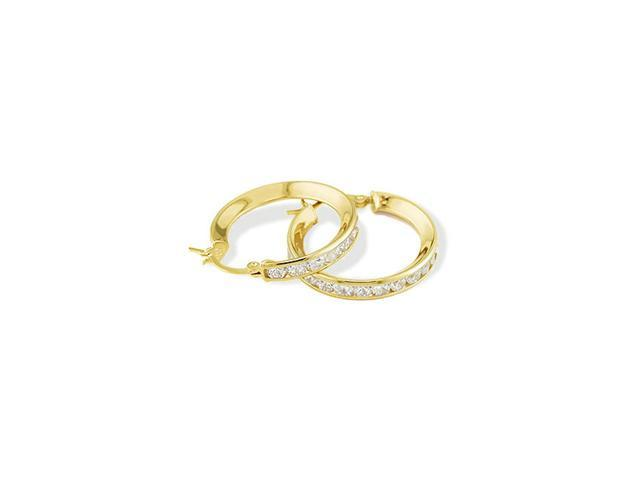 14k Yellow Gold Round CZ Channel Set Hoop Earrings