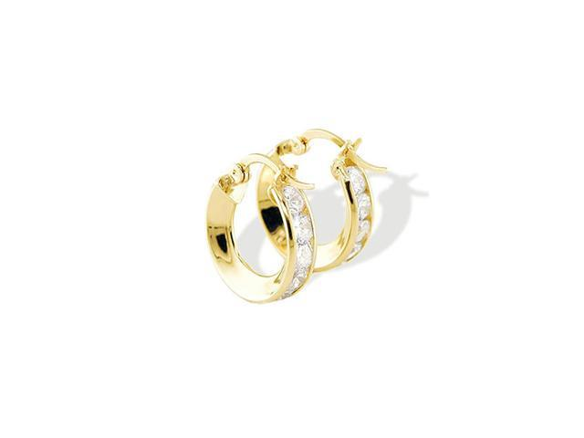 14k Yellow Gold Small Channel Set CZ Hoop Earrings