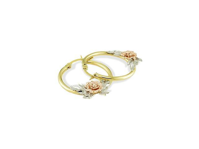 14k Yellow White Rose Gold Flower Hoop Post Earrings