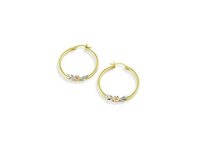 14k White Yellow Rose Gold Flower Leaf Hoop Earrings