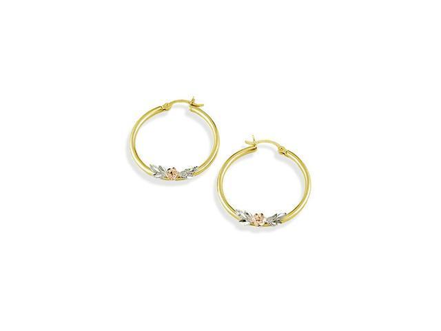 14k White Yellow Rose Gold Flower Leaf Hoop Earrings