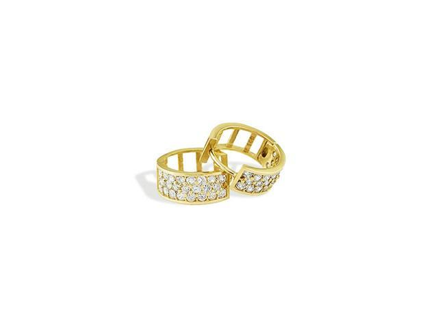 14k Yellow Gold Round CZ Pave Open Huggie Hoop Earrings