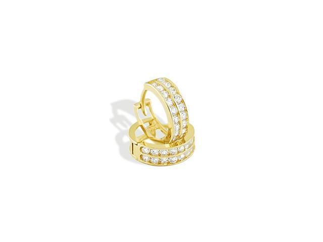 Solid 14k Yellow Gold CZ Round Huggie Hoop  Earrings