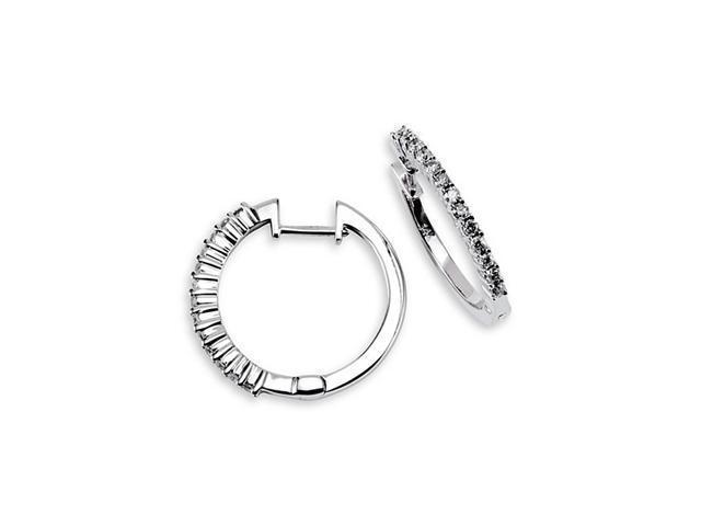 Solid 14k White Gold Round Cut Diamond Hoops Earrings
