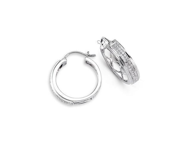 Women's Round Cut Diamond 14k White Gold Hoops Earrings