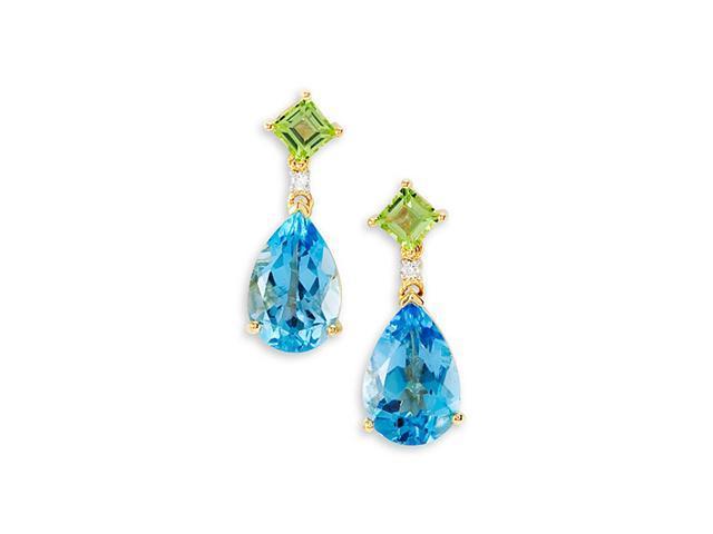 14k Yellow Gold Peridot Topaz Diamond Dangle Earrings
