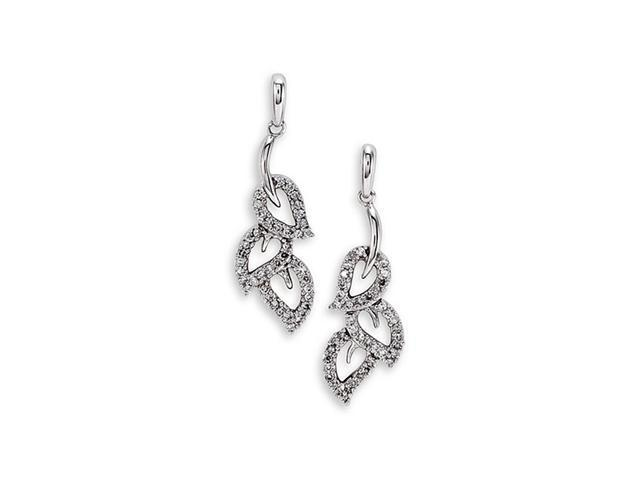 14k Solid White Gold Diamond Leaf Dangle Studs Earrings