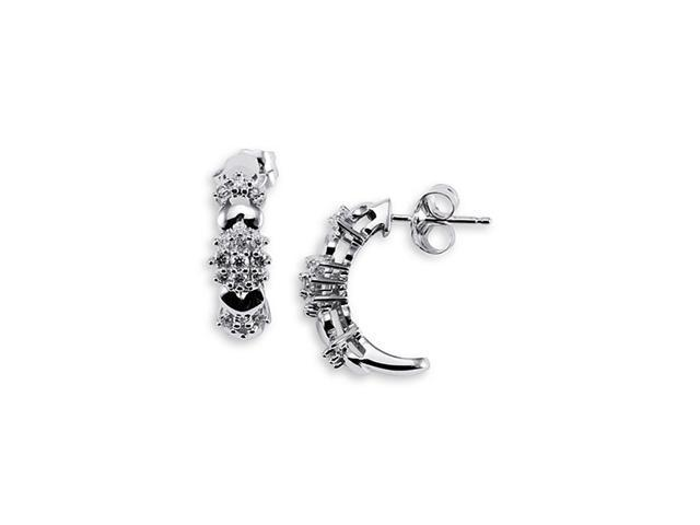 14k Solid White Gold Round Cut Dangle Studs Earrings