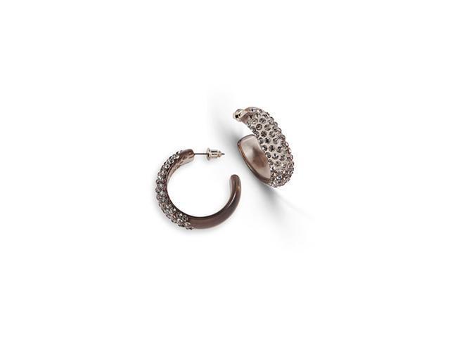 Polished Grey Swarovski Crystal Solid Hoop Earrings