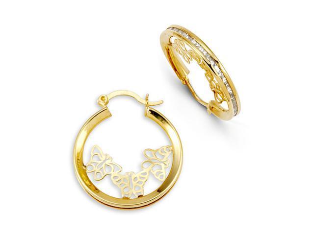 14k Yellow Gold Butterfly Princess Cut CZ Hoop Earrings