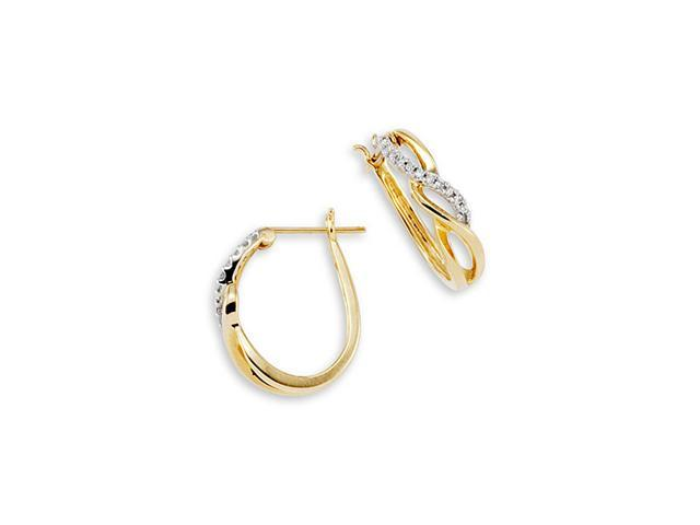 10K Yellow Gold 0.23 Ct Round Diamond Hoop Earrings