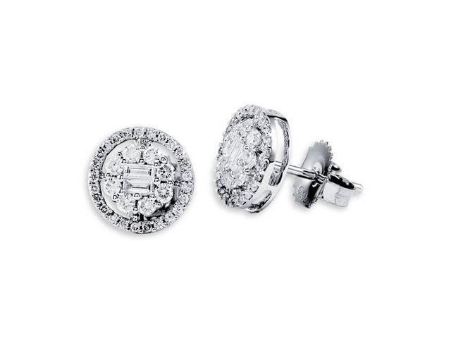 18K White Gold Round Baguette Diamond Stud Earrings
