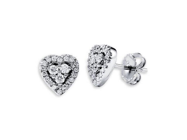 18K White Gold Solid Heart Fashion Diamond Earrings