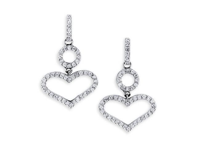 18K White Gold Dangle Hearts Round Diamond Earrings