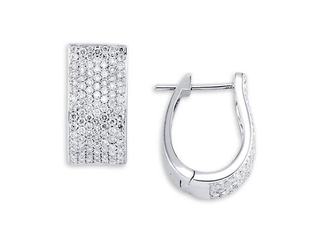 Solid 18K White Gold Hoops Round White Diamond Earrings