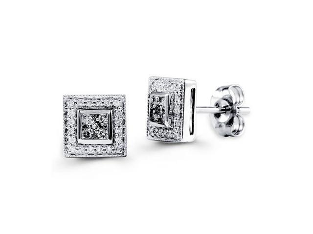 18K White Gold Round Genuine Diamond Stud Earrings