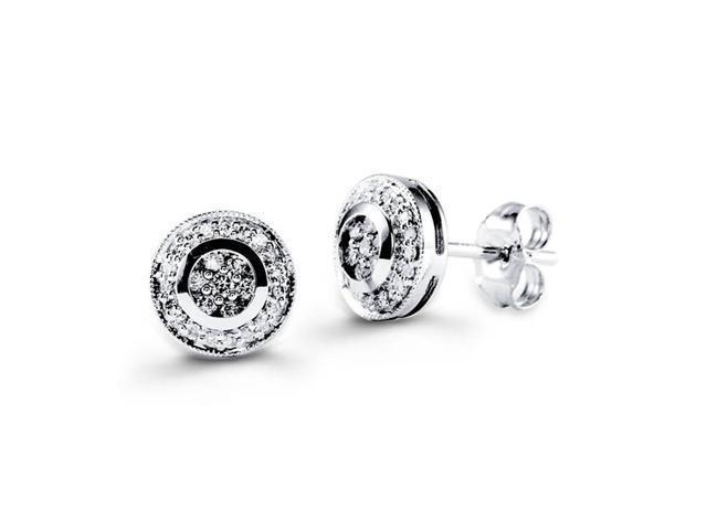 18K White Gold Round New Genuine Diamond Stud Earrings