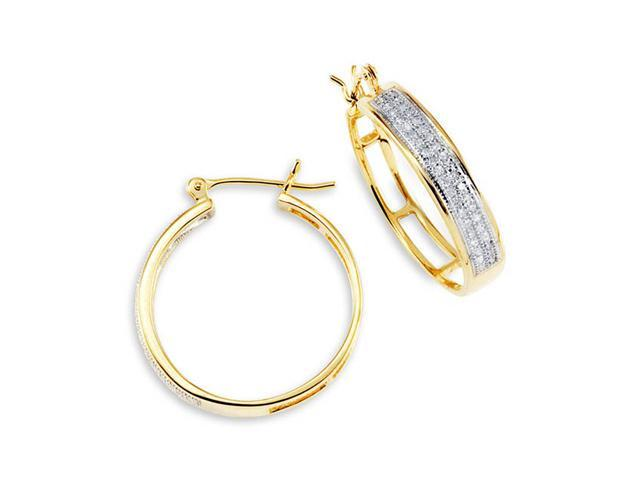 10K Yellow Gold Hoops Fashion Round Diamond Earrings