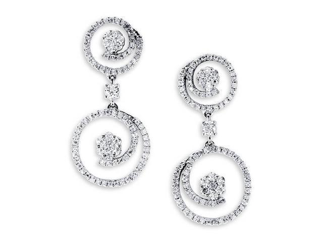 18k White Gold Dangle Earrings Round Diamond Earrings