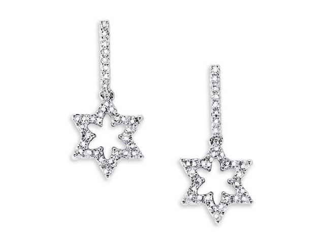 18K White Gold Hoops Dangle Star Round Diamond Earrings