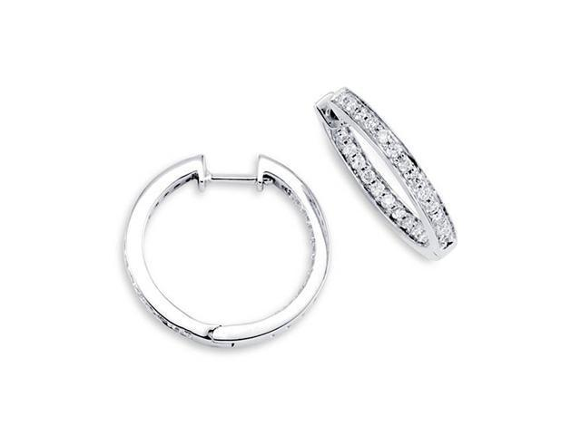 18K White Gold Hoops In Out New Round Diamond Earrings