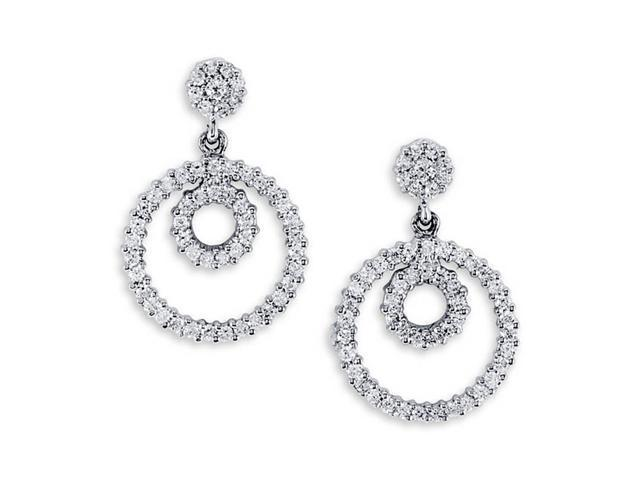 Solid 14K White Gold Dangle Round Diamond Stud Earrings