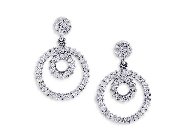 Solid 14K White Gold Dangle Round Diamond Stud Earrings