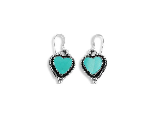 925 SILVER Heart Turquoise Drop French Wire Earrings