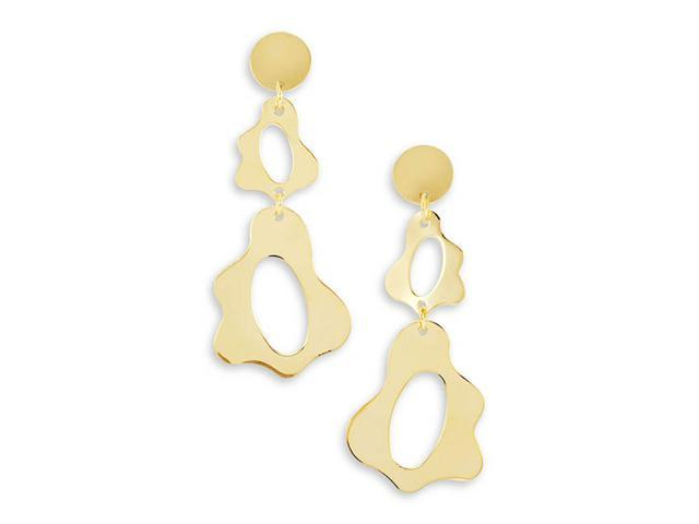 14k Bonded Gold Cut Out Oval Shapes Dangle Earrings